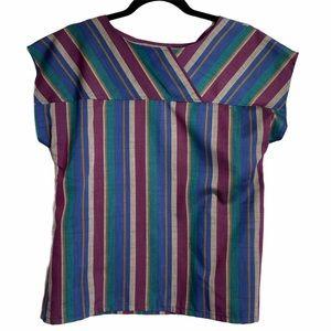 Vtg Koret Short Sleeve Striped Pullover Shirt Sz 8